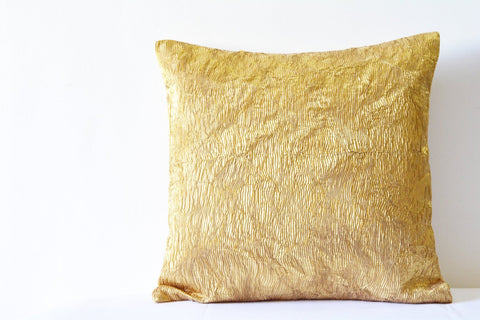 Gold Pleated Metallic Pillow Cover