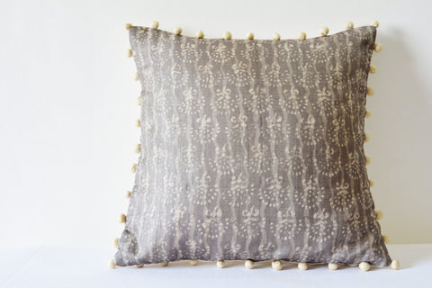 Warm Grey Hand Block Printed Cushion Cover in Silk with Pom Pom