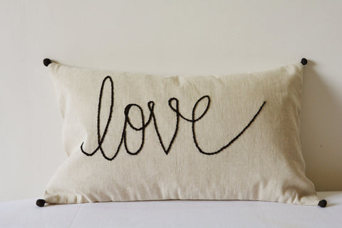 """Love"" Pillow , Hand Embroidery on Natural Ecru Cotton Linen Cushion Cover"