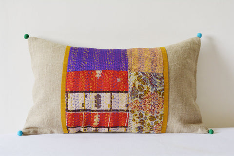 Patchwork Natural Linen Lumbar Pillow Cover with Vintage Hand Stitched Silk Kantha Fabric