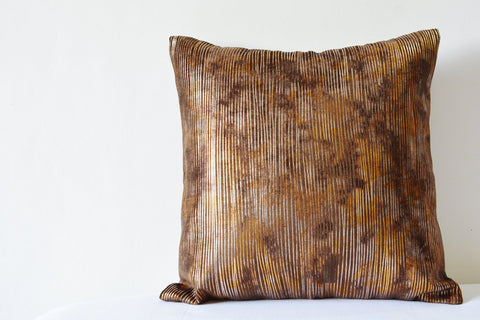 Super Glam Brown Velvet Pillow Cover with Metallic Gold and Silver Foil Print
