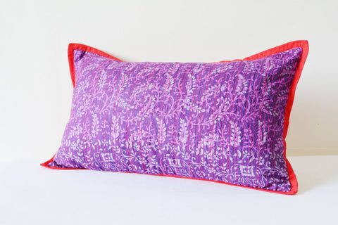 Purple Printed Silk Pillow Cover with Fuchsia Stitch Detail