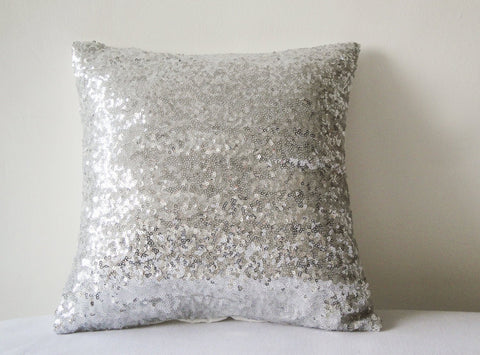 Shiny Silver Sequin Pillow Cover