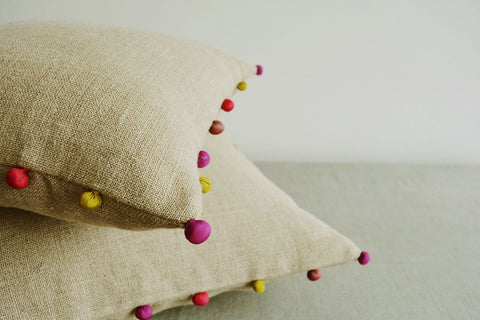 Natural Beige Linen Cushion Cover with Fabric Pom Pom detail , Linen Pillow Cover with Pom Pom Detail , Throw Pillow , Decor Pillow