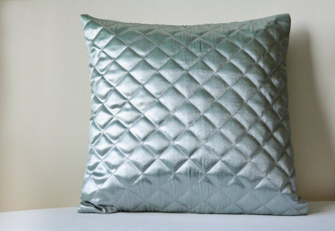 Silver with a hint of Duck Egg Quilted Metallic Pillow Cover