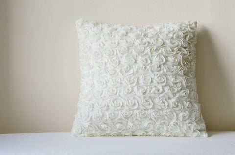 Off White Rosette Pillow Cover , 3-D Ivory Roses Cushion Cover , White Rose Decorative Pillow , Home & Living , White Rose Scatter Cushion