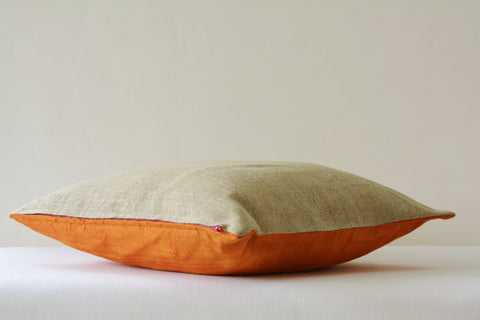 Orange Dupioni Silk & Natural Linen Reversible Pillow Cover