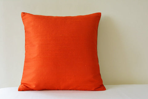 Dark Orange Dupioni Silk & Natural Linen Reversible Pillow Cover