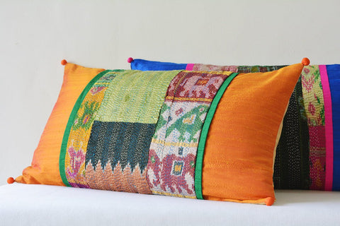 Orange Patchwork Pillow with Vintage Sari Hand stitched Kantha & Dupioni Silk , Decorative Pillow , Lumbar Pillow, Vintage Kantha Cushion