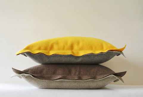 Yellow and Grey Reversible Felt Cushion Cover, Decorative Pillow, Accent Throw Pillow , Two Colour Reversible Felt Cushion Cover with Flange