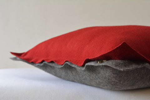 Red and Dark Grey Reversible Felt Cushion Cover, Decorative Pillow, Throw Pillow , Two Colour Reversible Felt Cushion Cover with Flange