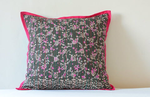 Batik Printed Dark Green Silk Pillow with Hot Pink Piping and Stitching Detail , Decor Pillow , Throw Pillow, Printed Scatter Pillow
