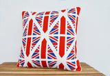 Union Jack Inspired Cushion Cover , Her Majesty's 90th , UK Cushion Cover , Union Jack Decorative Pillow , Union Jack Pillow, Blue Red White