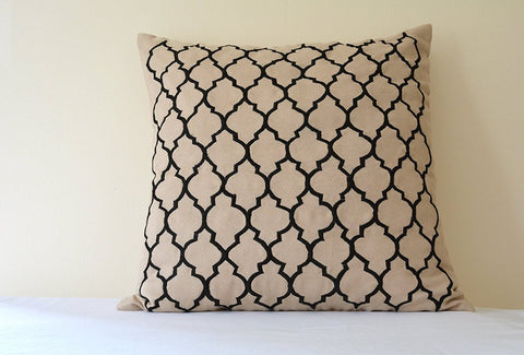 Rich Embroidered Arabesque Pattern on Beige Faux Suede Cushion Cover , Beige Suede Pillow with Jaal Embroidery, Black and Beige Pillow Cover