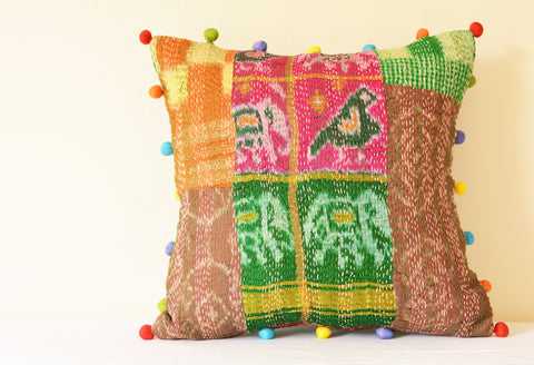 Bright Vintage Sari Patchwork Cushion Cover with Parrot Motif