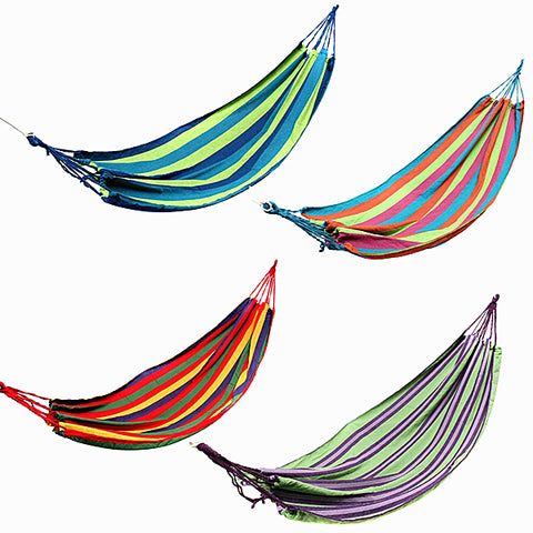 Outdoor Colorful Stripe Canvas Hammock - GalaxyDeals
