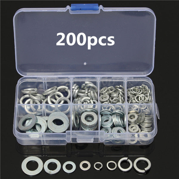 200pcs Flat and Spring Washers Set - GalaxyDeals