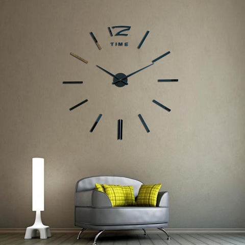 Large 3D DIY Mirror Wall Clock