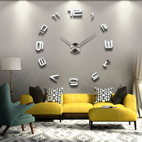 DIY 3D Mirror Large Home Wall Clock - GalaxyDeals