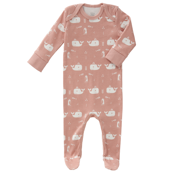 Pyjamas with feet Whale pink