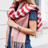 Striped Scarf Red
