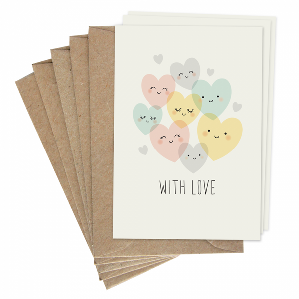 With Love Postcard Set of 5