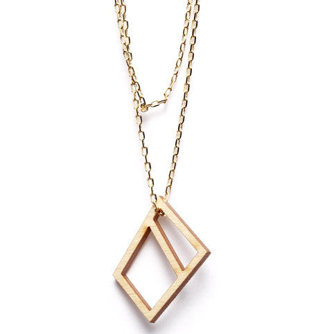 Bronze chain with wooden square