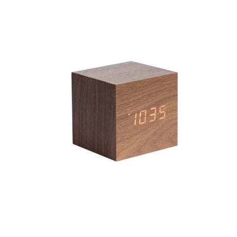 Alarm Clock Cube Dark Wood Veneer