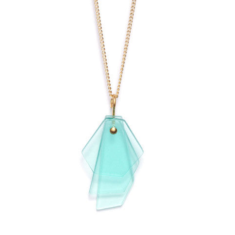 Necklace with mint layered pendant