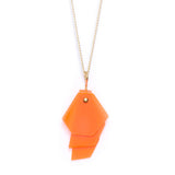 Necklace with fluo orange layered pendant