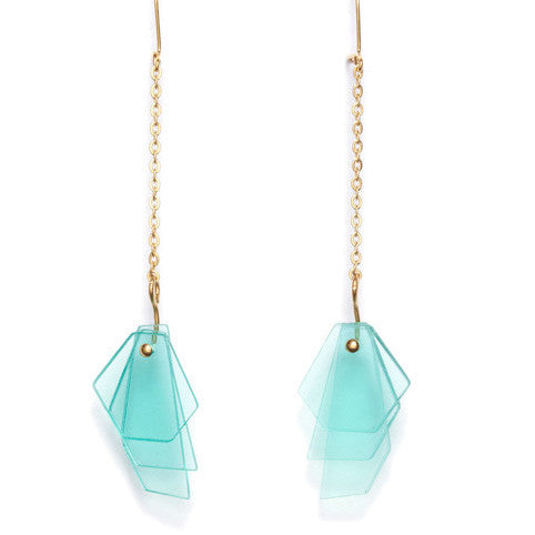 Earrings gold chain & acrylic glass mint layers
