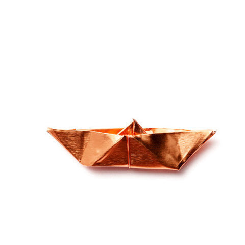 Brooch copper origami boat