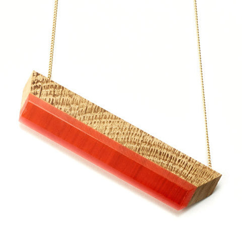 Necklace oak wood & red