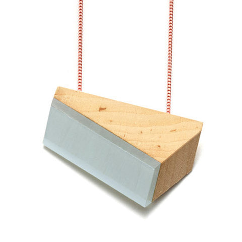 Necklace cherry wood & powder blue