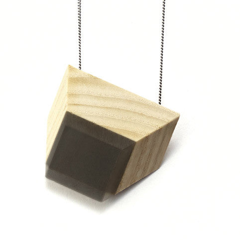 Necklace ash wood & grey