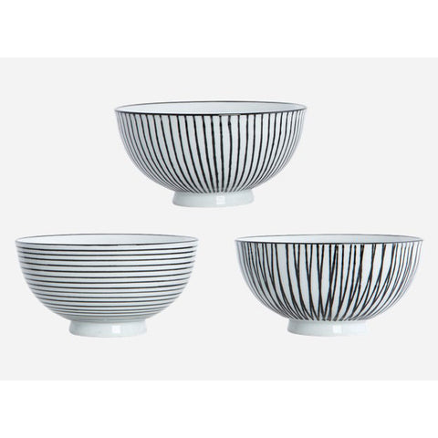 Bowl pen stripe set of 3