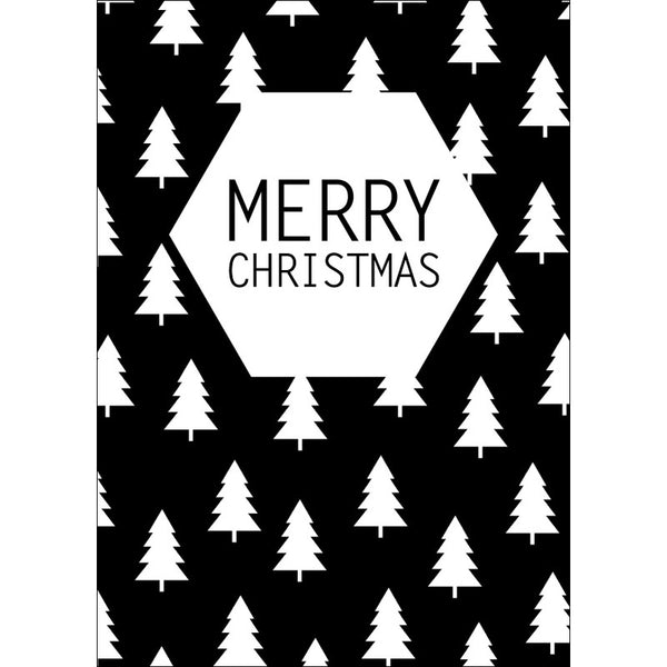 Christmas postcard Merry Christmas tree white
