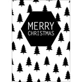 Christmas postcard Merry Christmas Tree Black