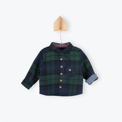 Green plaid baby shirt