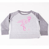 Sweater grey and pink flamingo Kids
