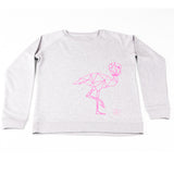 Sweater grey and pink flamingo Women