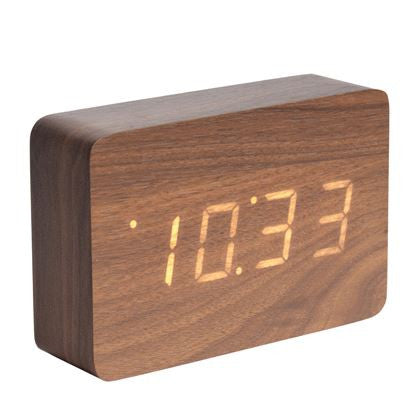 Alarm Clock Square Dark Wood Veneer