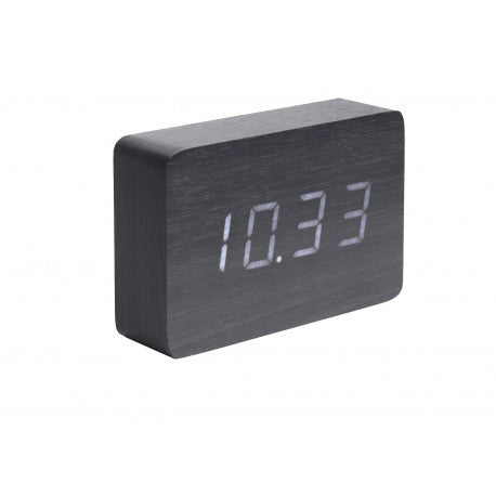 Alarm Clock Square Black Veneer