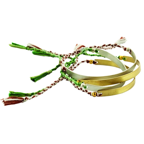 Bracelet green/light green & grey/burgundy, brass/silver