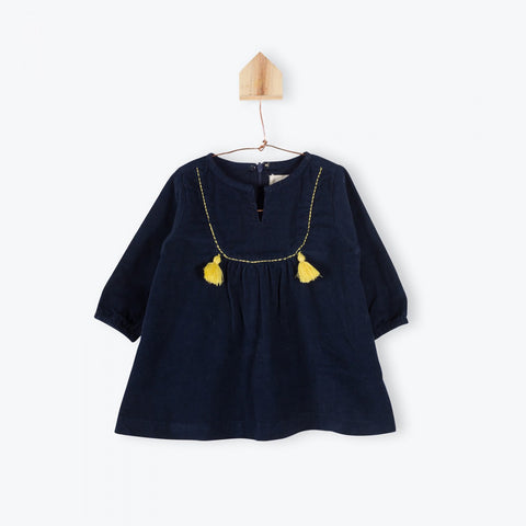 Navy blue velvet baby dress