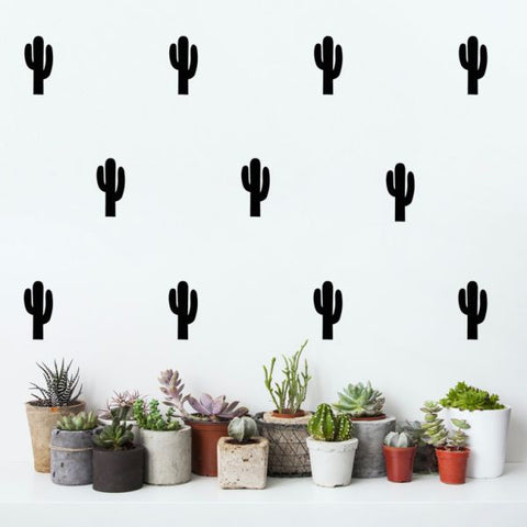 Cactus Wall Stickers Black