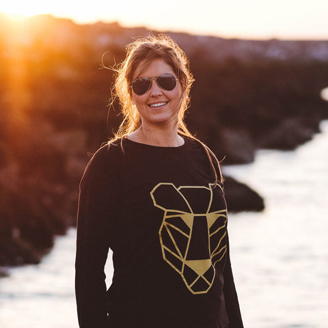 Sweater black and gold panther Women