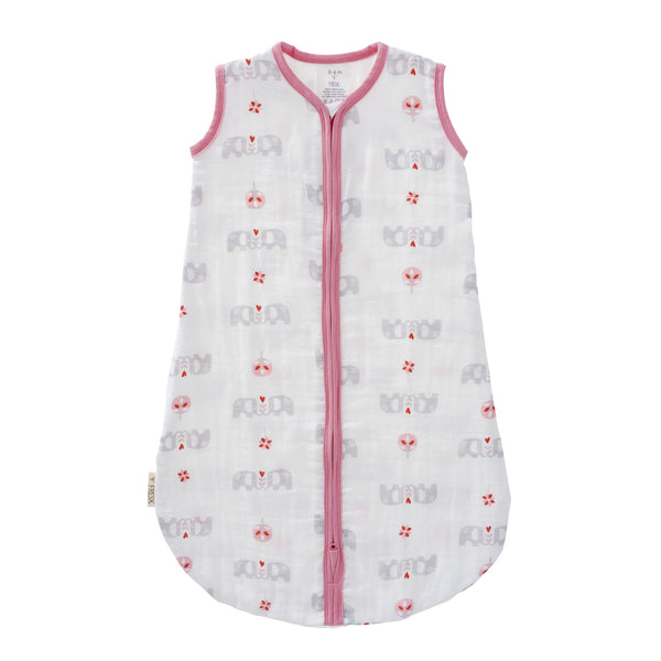 Sleeping bag muslin two-layer Elephant pink