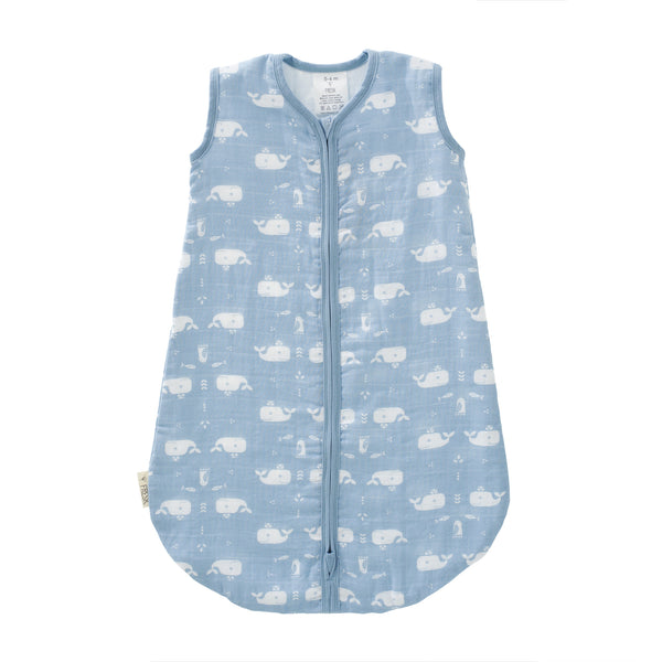 Sleeping bag muslin two-layer Whale blue-white