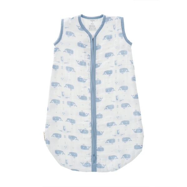 Sleeping bag muslin two-layer Whale white-blue
